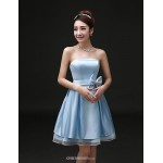 Cocktail Party / Formal Evening Dress - As Picture A-line Strapless Short/Mini Satin Celebrity Dresses