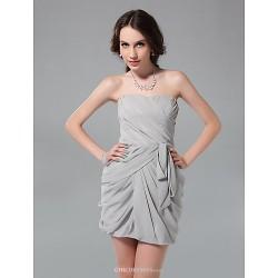 Cocktail Party / Graduation / Holiday / Wedding Party Dress - Silver Plus Sizes / Petite Sheath/Column Strapless Short/Mini Chiffon