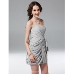 TS Couture Cocktail Party / Graduation / Holiday / Wedding Party Dress - Silver Plus Sizes / Petite Sheath/Column Strapless Short/Mini Chiffon Bridesmaid Dresses
