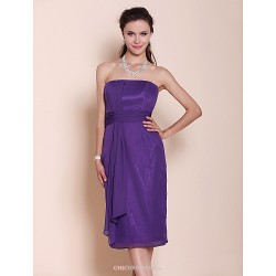Knee Length Chiffon Bridesmaid Dress Regency Plus Sizes Petite Sheath Column Strapless