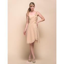 Knee Length Chiffon Bridesmaid Dress Champagne A Line Princess One Shoulder