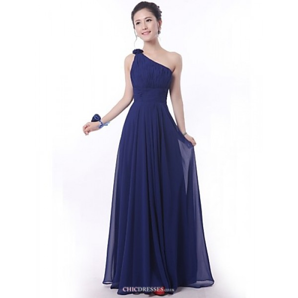 Floor-length Bridesmaid Dress - Royal Blue Sheath/Column One Shoulder Bridesmaid Dresses