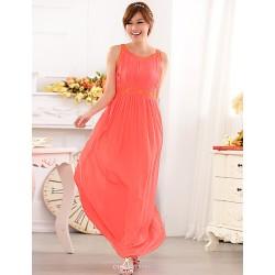 Formal Evening Dress - Champagne / Black / Watermelon A-line Jewel Floor-length Chiffon