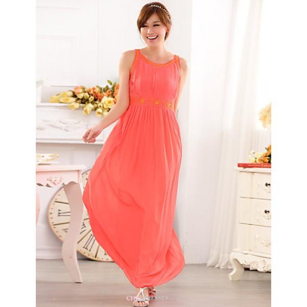 Formal Evening Dress - Champagne / Black / Watermelon A-line Jewel Floor-length Chiffon Bridesmaid Dresses