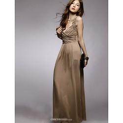 Ankle Length Silk Bridesmaid Dress Brown Watermelon Ball Gown Sweetheart
