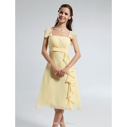 Knee-length Chiffon Bridesmaid Dress - Daffodil Plus Sizes / Petite A-line Straps / Square