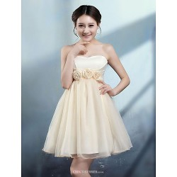 Knee Length Tulle Stretch Satin Bridesmaid Dress Champagne Ruby Ball Gown Sweetheart