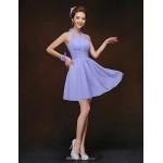 Short/Mini Bridesmaid Dress - Lavender Sheath/Column Halter Bridesmaid Dresses