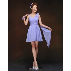 Short Mini Bridesmaid Dress Lavender Sheath Column Spaghetti Straps