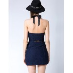 Mini Cotton / Lace / Polyester Bridesmaid Dress - Dark Navy Sheath/Column Sweetheart Bridesmaid Dresses