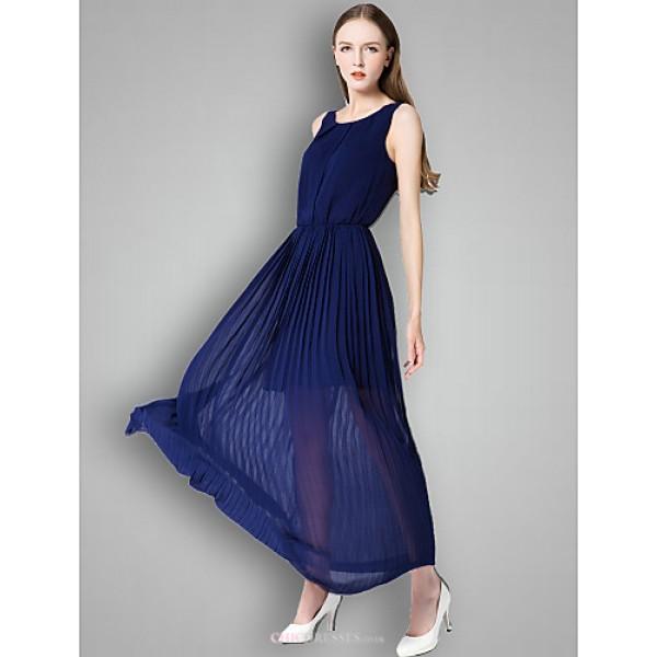Ankle-length Chiffon Bridesmaid Dress - Orange / Clover / Ocean Blue A-line Scoop Bridesmaid Dresses