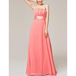 Floor Length Chiffon Bridesmaid Dress Watermelon A Line Spaghetti Straps