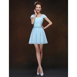 Short Mini Bridesmaid Dress Sky Blue Sheath Column Queen Anne