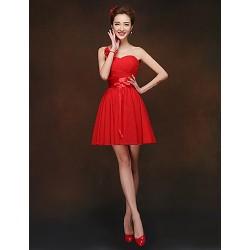Short Mini Bridesmaid Dress Ruby Sheath Column Sweetheart
