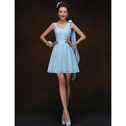 Short Mini Bridesmaid Dress Sky Blue Sheath Column Spaghetti Straps