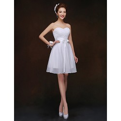 Short Mini Bridesmaid Dress White Sheath Column Sweetheart