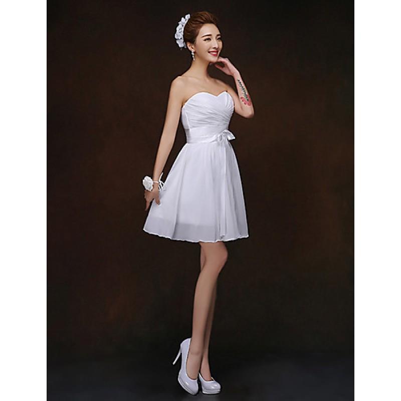 Short Mini Bridesmaid Dress White Sheath Column