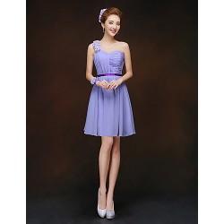 Short Mini Bridesmaid Dress Lavender Sheath Column One Shoulder