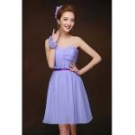 Short/Mini Bridesmaid Dress - Lavender Sheath/Column One Shoulder Bridesmaid Dresses