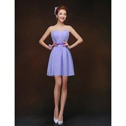 Short Mini Chiffon Bridesmaid Dress Lavender A Line Sweetheart