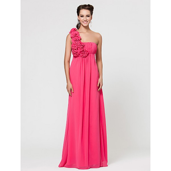 Wedding Party / Formal Evening / Military Ball Dress - As Picture Sheath/Column One Shoulder Floor-length Chiffon Bridesmaid Dresses