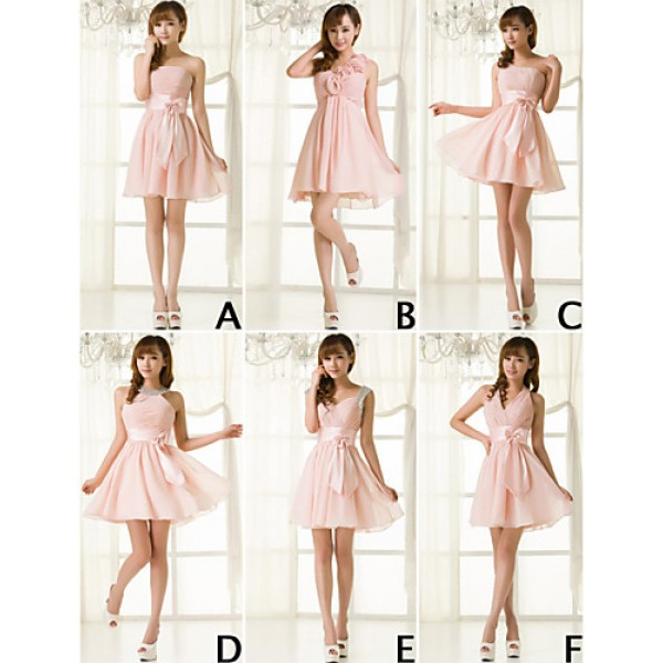 Mix & Match Dresses Short/Mini Chiffon 6 Styles Bridesmaid Dresses (3789851) Bridesmaid Dresses