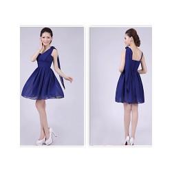 Short/Mini Bridesmaid Dress - Royal Blue A-line / Princess Spaghetti Straps