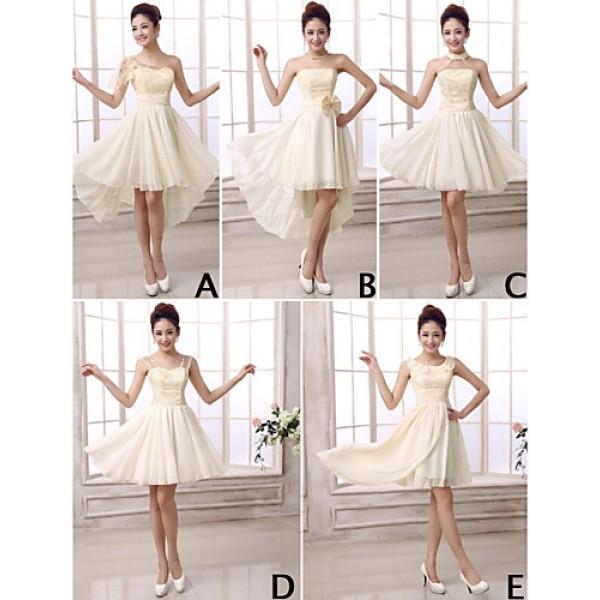 Mix & Match Dresses Short/Mini Chiffon 5 Styles Bridesmaid Dresses (3789820) Bridesmaid Dresses