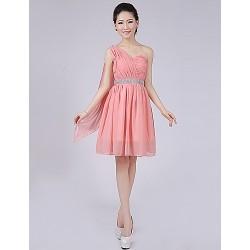 Short/Mini Bridesmaid Dress - Watermelon A-line / Princess One Shoulder