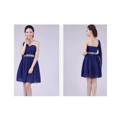 Short/Mini Bridesmaid Dress - Royal Blue A-line / Princess One Shoulder
