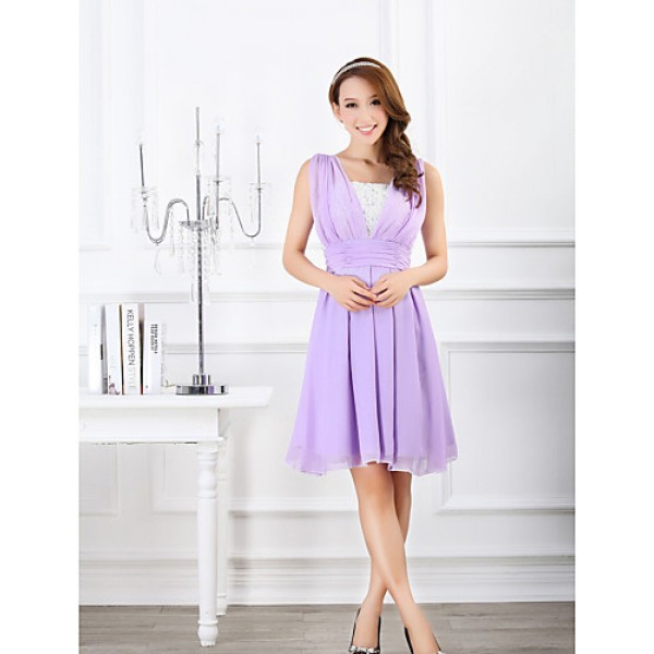 Ankle-length Chiffon Bridesmaid Dress - Blushing Pink / Lavender Ball Gown Sweetheart Bridesmaid Dresses