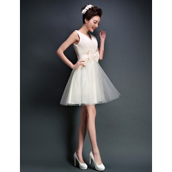 Short/Mini Tulle Bridesmaid Dress - Ivory / Candy Pink A-line V-neck