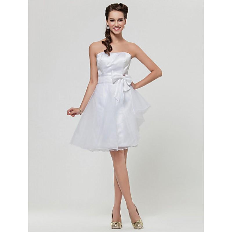 Wedding Gowns Online Uk: Knee-length Satin / Organza Bridesmaid Dress