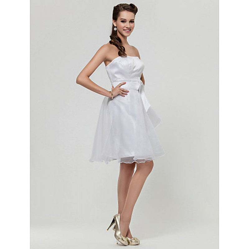 Knee length satin organza bridesmaid dress white plus for Wedding dresses petite sizes
