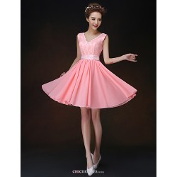 Short/Mini Bridesmaid Dress - Watermelon A-line / Princess Straps