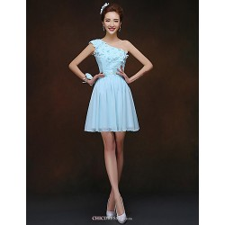 Short/Mini Bridesmaid Dress - Sky Blue Sheath/Column One Shoulder