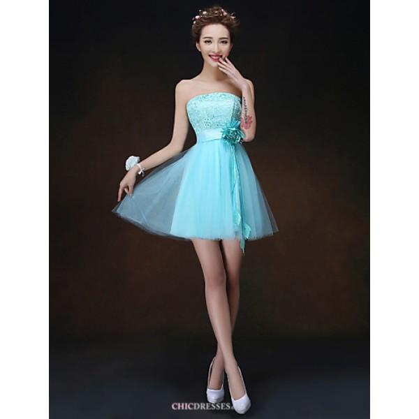 Short/Mini Bridesmaid Dress - Sky Blue A-line / Princess Strapless Bridesmaid Dresses