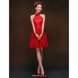 Short/Mini Bridesmaid Dress - Ruby A-line / Princess High Neck