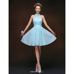 Knee-length Bridesmaid Dress - Sky Blue A-line / Princess High Neck