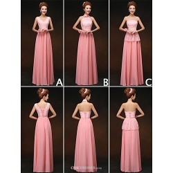 Mix & Match Dresses Floor Length Chiffon And Lace 3 Styles Bridesmaid Dresses (3789858)