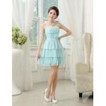 Tea-length Chiffon Bridesmaid Dress - Lilac / Sky Blue / Champagne A-line / Princess Sweetheart Bridesmaid Dresses
