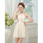 Asymmetrical Chiffon Bridesmaid Dress - Lilac / Champagne / Sky Blue A-line / Princess Halter Bridesmaid Dresses