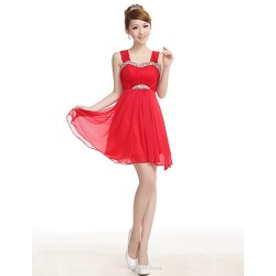 Wedding Party Dress Ruby A Line Straps Knee Length Satin
