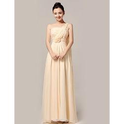 Formal Evening Dress - Champagne A-line One Shoulder Floor-length Nylon Taffeta