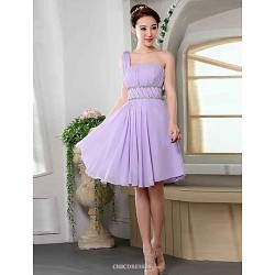 Knee Length Chiffon Bridesmaid Dress Lavender Off The Shoulder