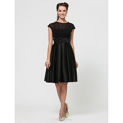 Knee-length Chiffon / Satin Bridesmaid Dress - Black Plus Sizes / Petite A-line / Princess Jewel