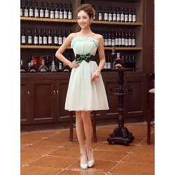 Knee Length Chiffon Bridesmaid Dress Sage A Line Strapless
