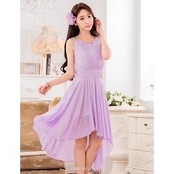 Asymmetrical Chiffon Bridesmaid Dress Daffodil Lavender A Line Jewel