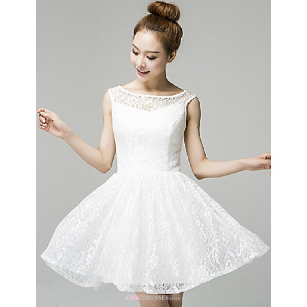 Cocktail Party Dress - Blushing Pink / White A-line Jewel Short/Mini Lace Celebrity Dresses