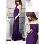 Ankle-length Silk Bridesmaid Dress - Grape / Black Ball Gown Sweetheart Bridesmaid Dresses